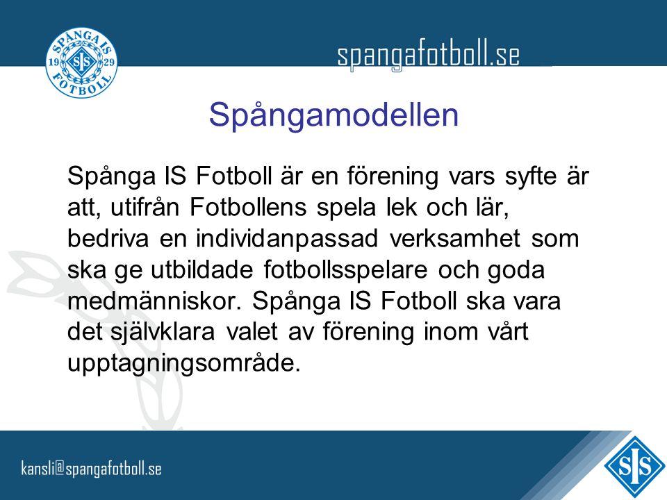 Spångamodellen Spånga IS Fotboll är en förening vars syfte är att, utifrån Fotbollens spela lek och lär, bedriva en individanpassad verksamhet som ska ge utbildade fotbollsspelare och goda medmänniskor.