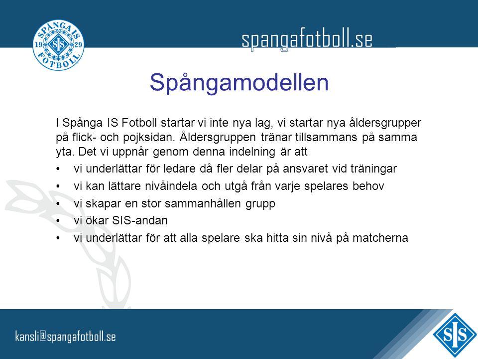Spångamodellen I Spånga IS Fotboll startar vi inte nya lag, vi startar nya åldersgrupper på flick- och pojksidan. Åldersgruppen tränar tillsammans på