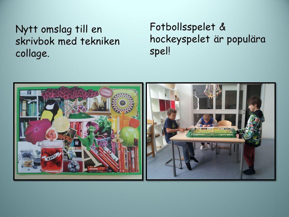 Nytt omslag till en skrivbok med tekniken collage. Fotbollsspelet & hockeyspelet är populära spel!
