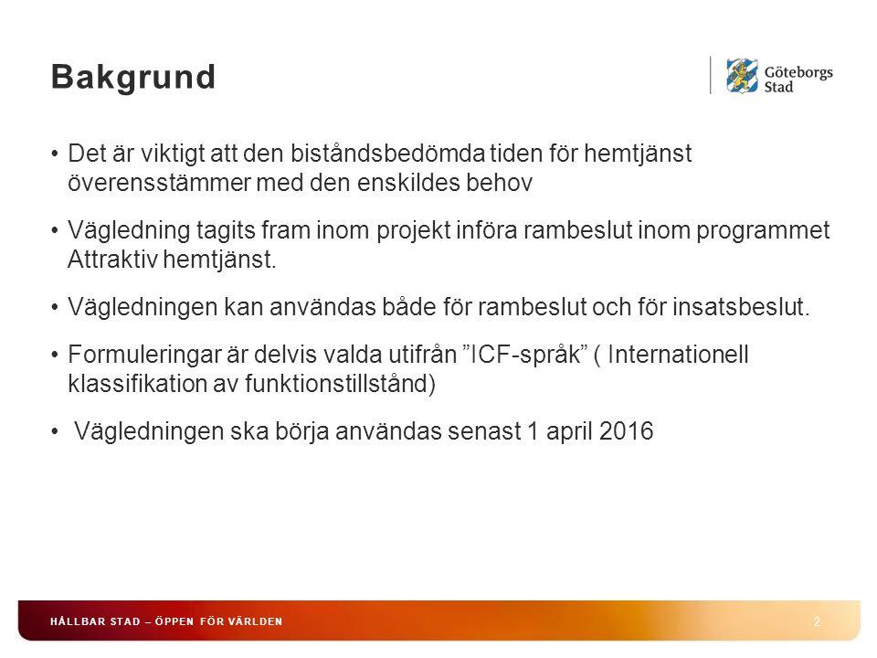Bakgrund 2 HÅLLBAR STAD – ÖPPEN FÖR VÄRLDEN Det är viktigt att den biståndsbedömda tiden för hemtjänst överensstämmer med den enskildes behov Vägledning tagits fram inom projekt införa rambeslut inom programmet Attraktiv hemtjänst.