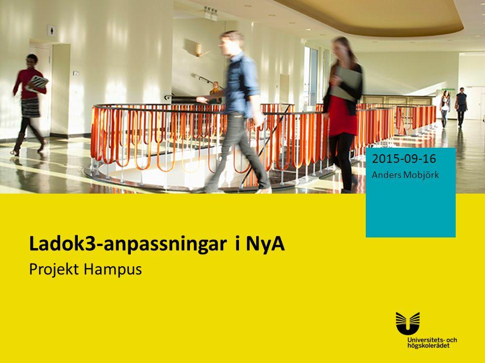 Sv Ladok3-anpassningar i NyA Projekt Hampus 2015-09-16 Anders Mobjörk