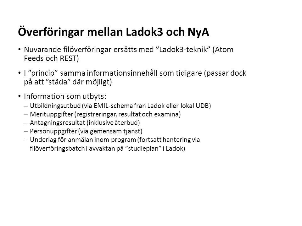 Sv Nuvarande filöverföringar ersätts med Ladok3-teknik (Atom Feeds och REST) I princip samma informationsinnehåll som tidigare (passar dock på att städa där möjligt) Information som utbyts:  Utbildningsutbud (via EMIL-schema från Ladok eller lokal UDB)  Merituppgifter (registreringar, resultat och examina)  Antagningsresultat (inklusive återbud)  Personuppgifter (via gemensam tjänst)  Underlag för anmälan inom program (fortsatt hantering via filöverföringsbatch i avvaktan på studieplan i Ladok) Överföringar mellan Ladok3 och NyA