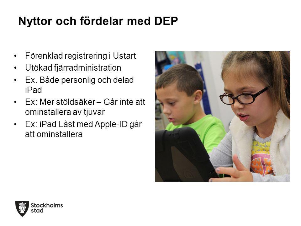 Nyttor och fördelar med DEP Förenklad registrering i Ustart Utökad fjärradministration Ex. Både personlig och delad iPad Ex: Mer stöldsäker – Går inte