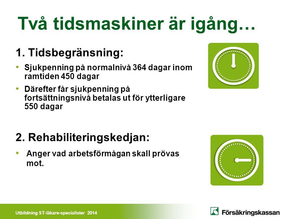 Utbildning ST-läkare-specialister 2014 Två tidsmaskiner är igång… 1.