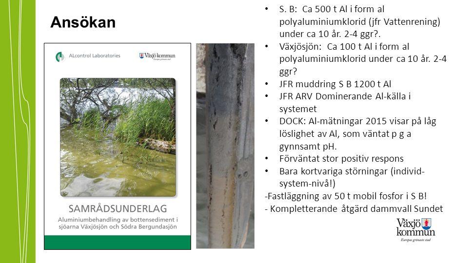 Ansökan S. B: Ca 500 t Al i form al polyaluminiumklorid (jfr Vattenrening) under ca 10 år.