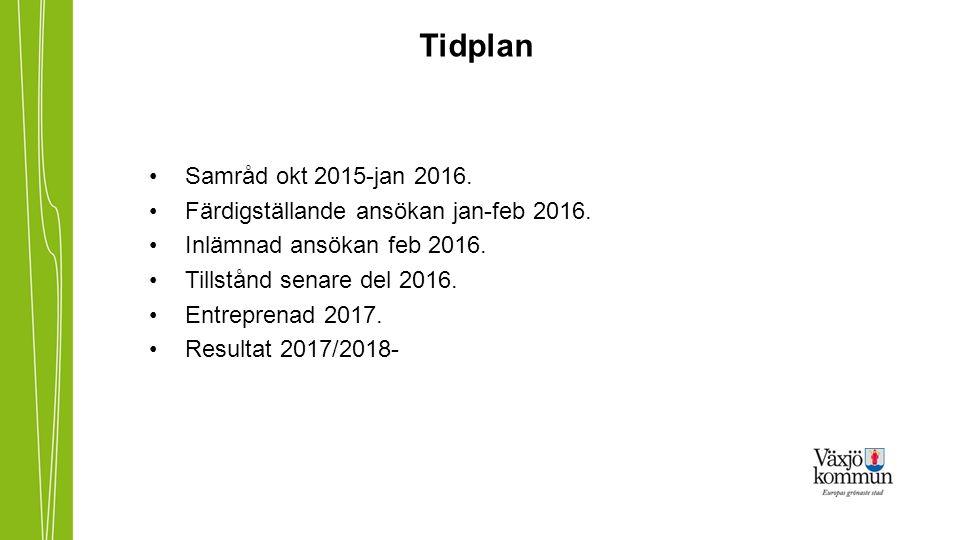 Tidplan Samråd okt 2015-jan 2016. Färdigställande ansökan jan-feb 2016.