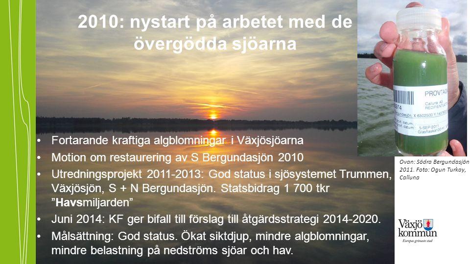 Fortarande kraftiga algblomningar i Växjösjöarna Motion om restaurering av S Bergundasjön 2010 Utredningsprojekt 2011-2013: God status i sjösystemet Trummen, Växjösjön, S + N Bergundasjön.