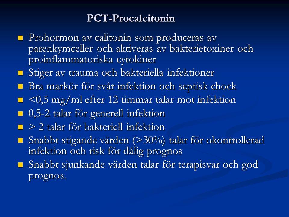 PCT-Procalcitonin Prohormon av calitonin som produceras av parenkymceller och aktiveras av bakterietoxiner och proinflammatoriska cytokiner Prohormon