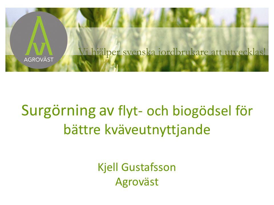 Surgörning av flyt- och biogödsel för bättre kväveutnyttjande Kjell Gustafsson Agroväst