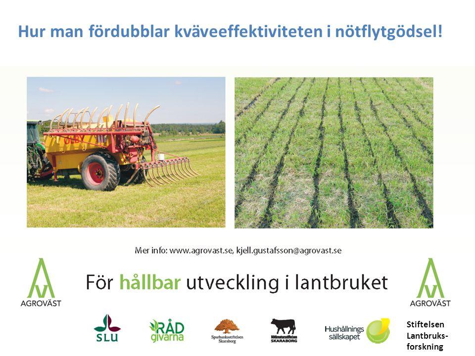 ammoniumkväve Organiskt kväve Röta: 0-25 kg Syra: 20-40 kg Nötflytgödsel i gräsvall på Rådde, 2013
