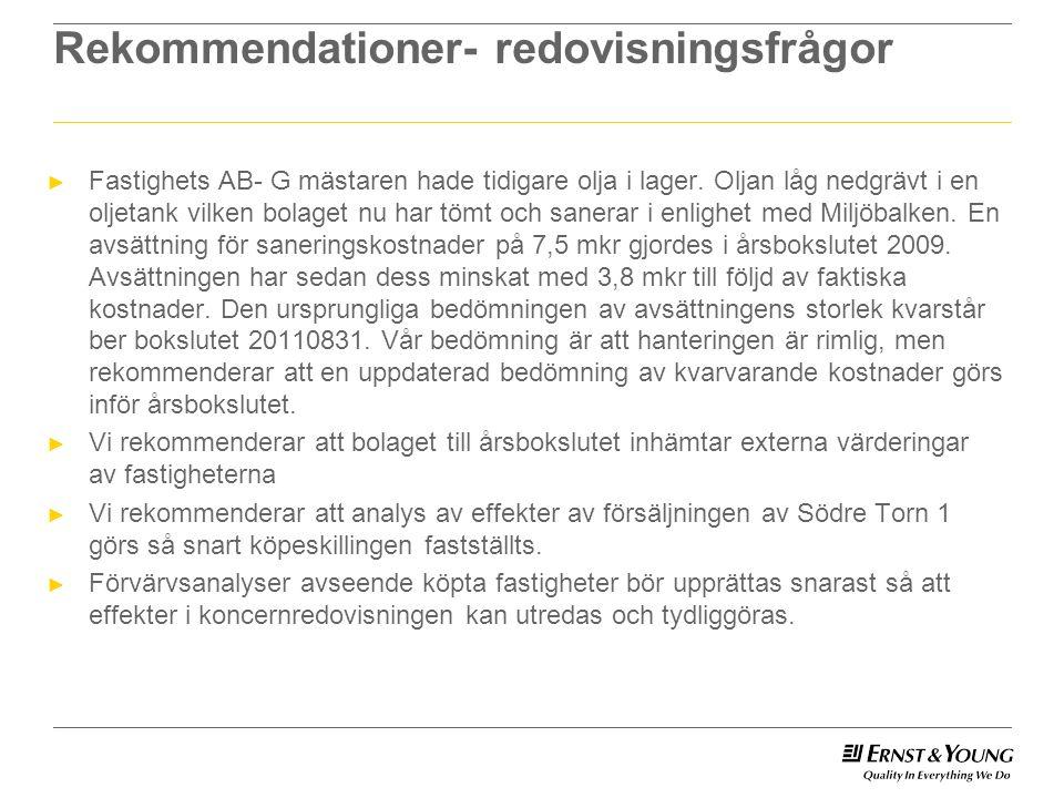 Rekommendationer- redovisningsfrågor ► Fastighets AB- G mästaren hade tidigare olja i lager.