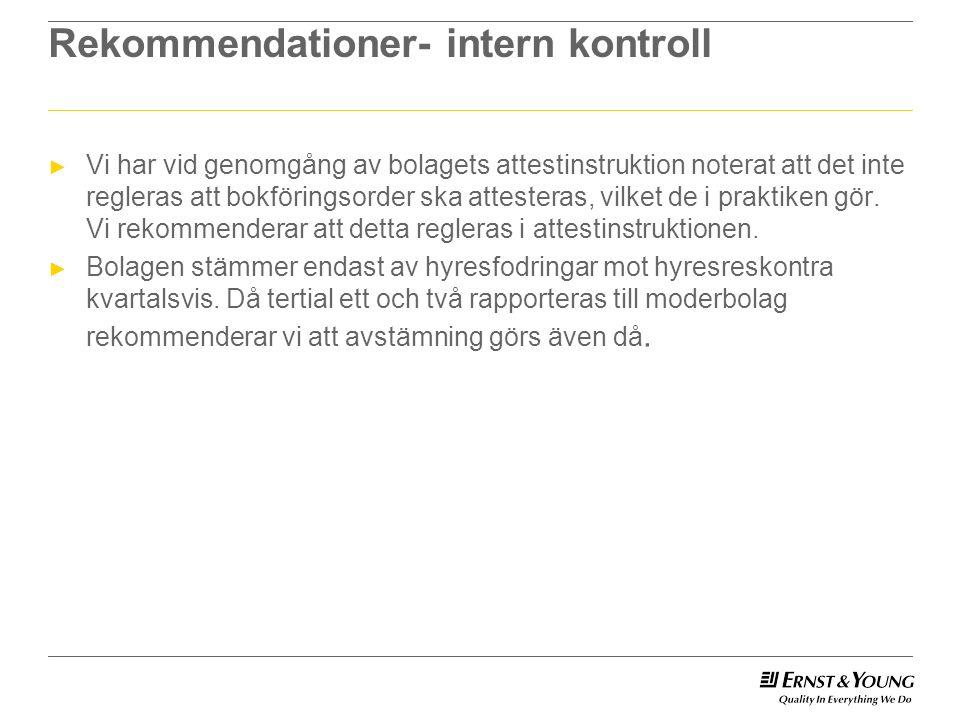 Rekommendationer- intern kontroll ► Vi har vid genomgång av bolagets attestinstruktion noterat att det inte regleras att bokföringsorder ska attesteras, vilket de i praktiken gör.