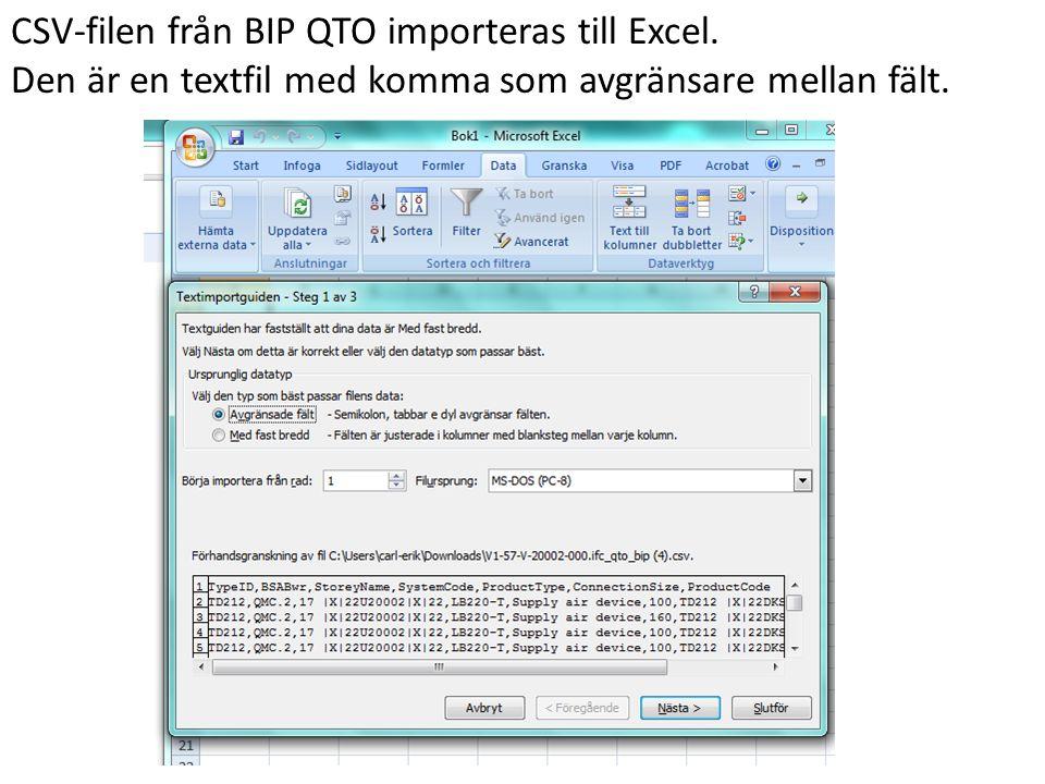CSV-filen från BIP QTO importeras till Excel.