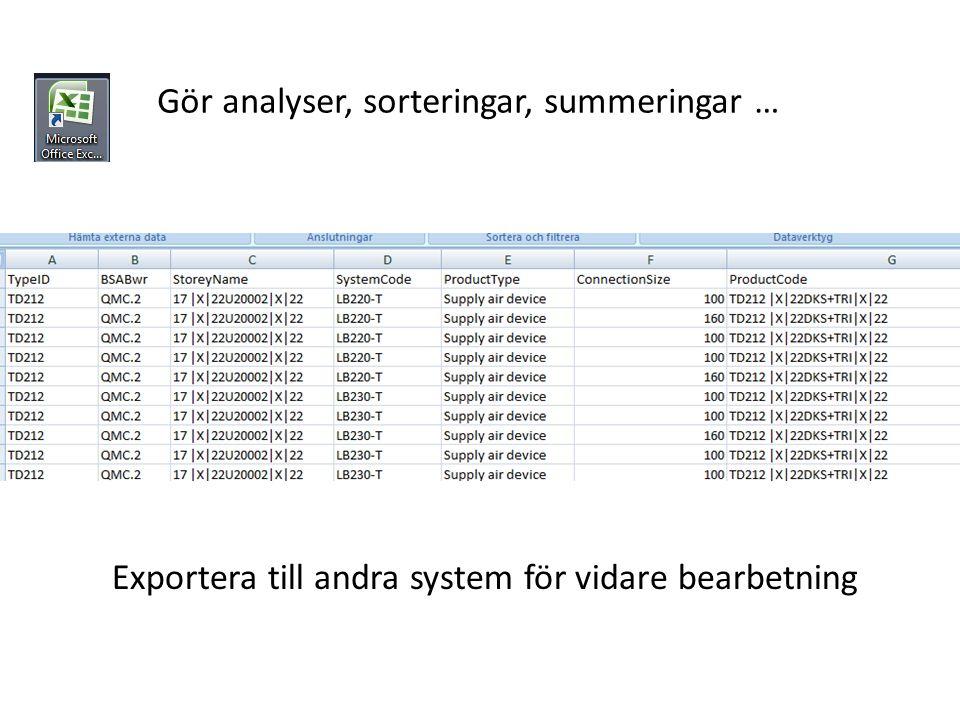 Gör analyser, sorteringar, summeringar … Exportera till andra system för vidare bearbetning