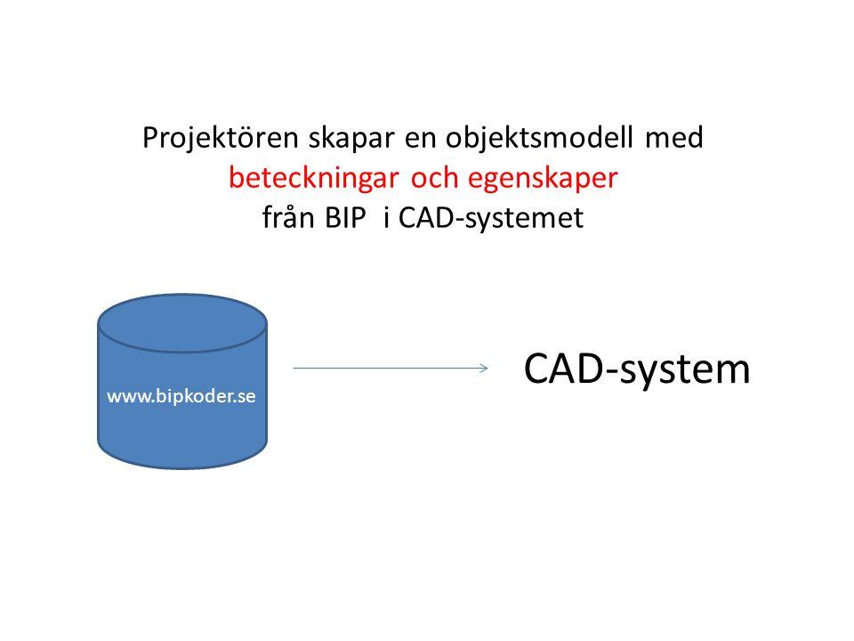 CAD-system www.bipkoder.se Projektören skapar en objektsmodell med beteckningar och egenskaper från BIP i CAD-systemet
