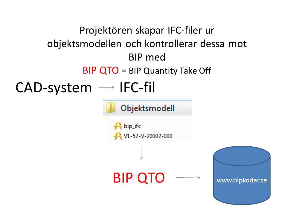 CAD-systemIFC-fil www.bipkoder.se Projektören skapar IFC-filer ur objektsmodellen och kontrollerar dessa mot BIP med BIP QTO = BIP Quantity Take Off BIP QTO
