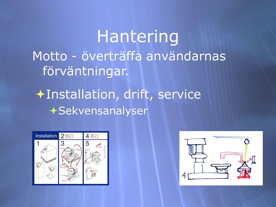 Hantering  Installation, drift, service  Sekvensanalyser  Installation, drift, service  Sekvensanalyser Motto - överträffa användarnas förväntning