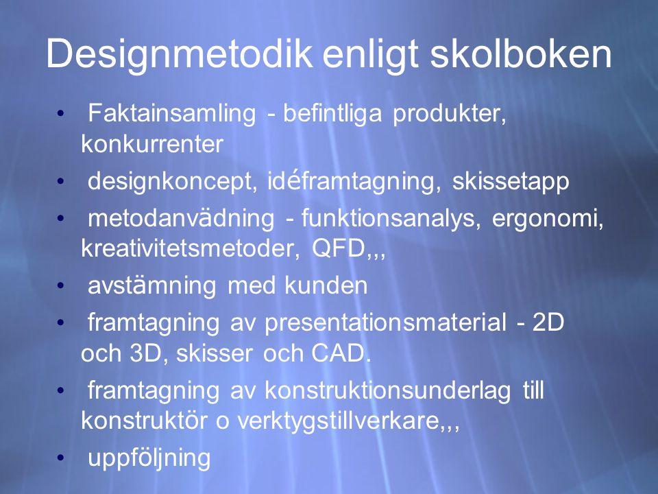 Designmetodik enligt skolboken Faktainsamling - befintliga produkter, konkurrenter designkoncept, id é framtagning, skissetapp metodanv ä dning - funk