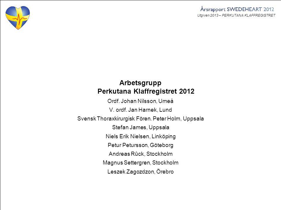 Utgiven 2013 – PERKUTANA KLAFFREGISTRET Arbetsgrupp Perkutana Klaffregistret 2012 Ordf. Johan Nilsson, Umeå V. ordf. Jan Harnek, Lund Svensk Thoraxkir