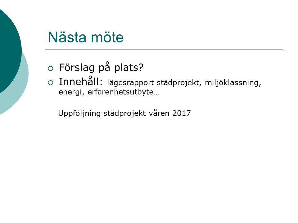 Nästa möte  Förslag på plats?  Innehåll: lägesrapport städprojekt, miljöklassning, energi, erfarenhetsutbyte… Uppföljning städprojekt våren 2017
