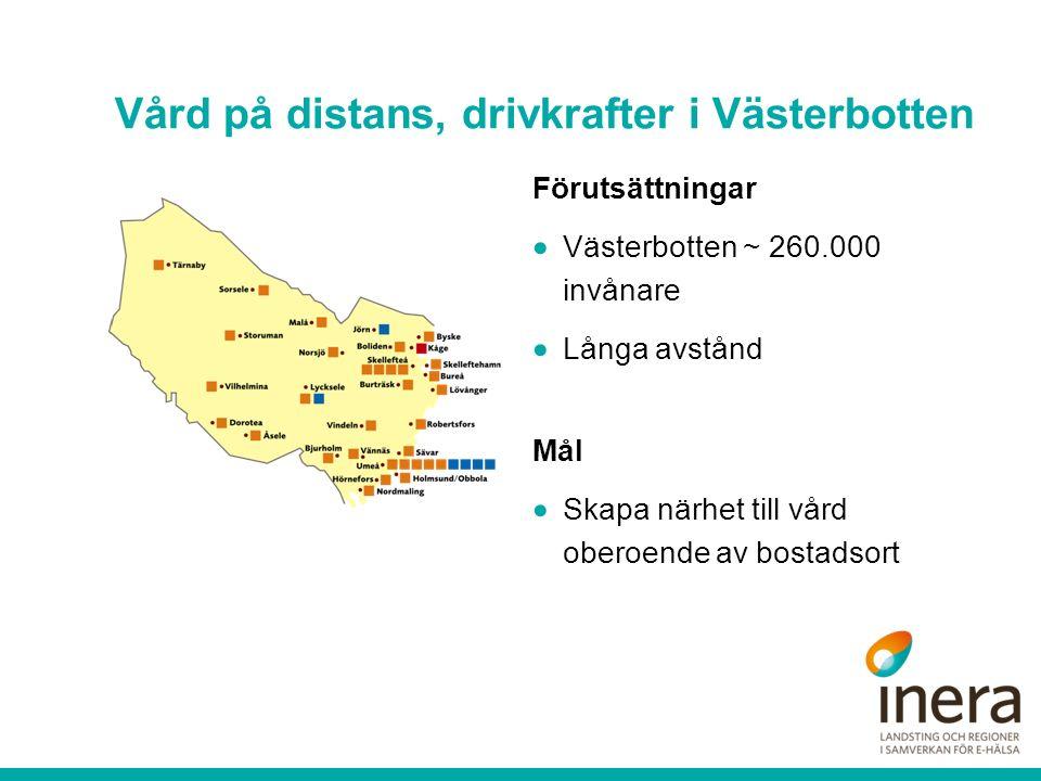 Vård på distans, drivkrafter i Västerbotten Förutsättningar  Västerbotten ~ 260.000 invånare  Långa avstånd Mål  Skapa närhet till vård oberoende a
