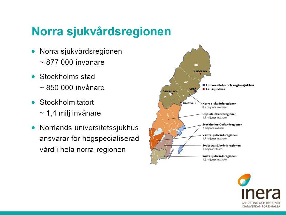 Norra sjukvårdsregionen  Norra sjukvårdsregionen ~ 877 000 invånare  Stockholms stad ~ 850 000 invånare  Stockholm tätort ~ 1,4 milj invånare  Nor