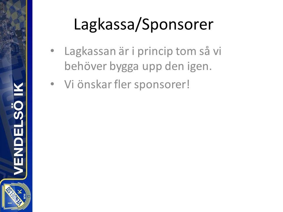 Lagkassa/Sponsorer Lagkassan är i princip tom så vi behöver bygga upp den igen.