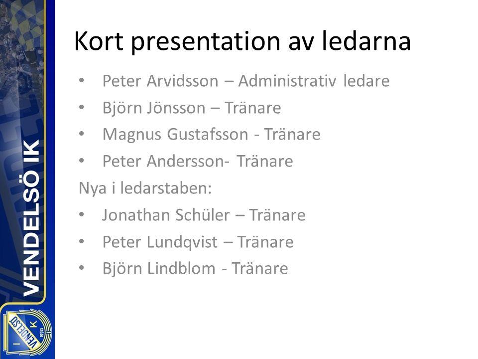 Kort presentation av ledarna Peter Arvidsson – Administrativ ledare Björn Jönsson – Tränare Magnus Gustafsson - Tränare Peter Andersson- Tränare Nya i ledarstaben: Jonathan Schüler – Tränare Peter Lundqvist – Tränare Björn Lindblom - Tränare