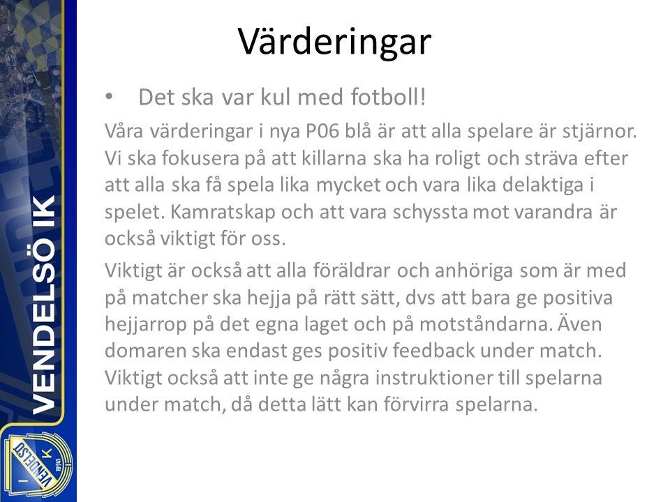 Värderingar Det ska var kul med fotboll.