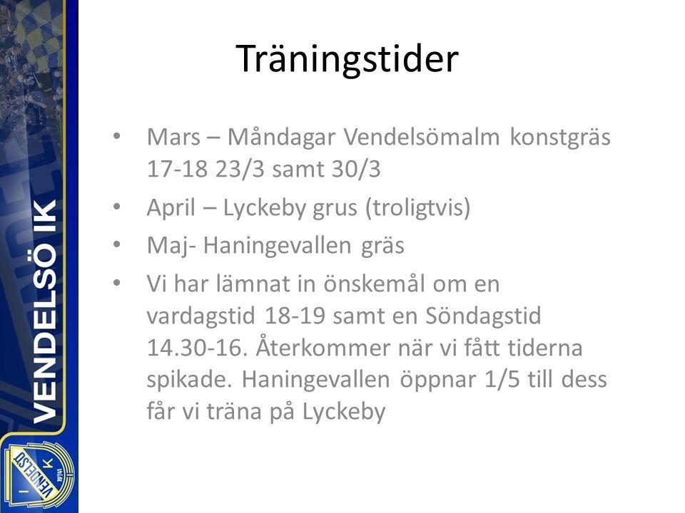 Träningstider Mars – Måndagar Vendelsömalm konstgräs 17-18 23/3 samt 30/3 April – Lyckeby grus (troligtvis) Maj- Haningevallen gräs Vi har lämnat in önskemål om en vardagstid 18-19 samt en Söndagstid 14.30-16.