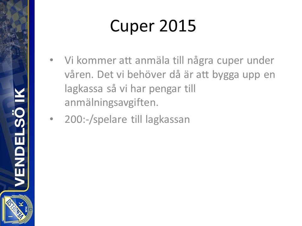 Cuper 2015 Vi kommer att anmäla till några cuper under våren.
