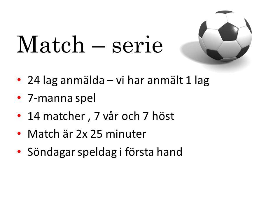 Match – serie 24 lag anmälda – vi har anmält 1 lag 7-manna spel 14 matcher, 7 vår och 7 höst Match är 2x 25 minuter Söndagar speldag i första hand