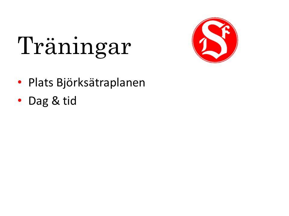 Träningar Plats Björksätraplanen Dag & tid
