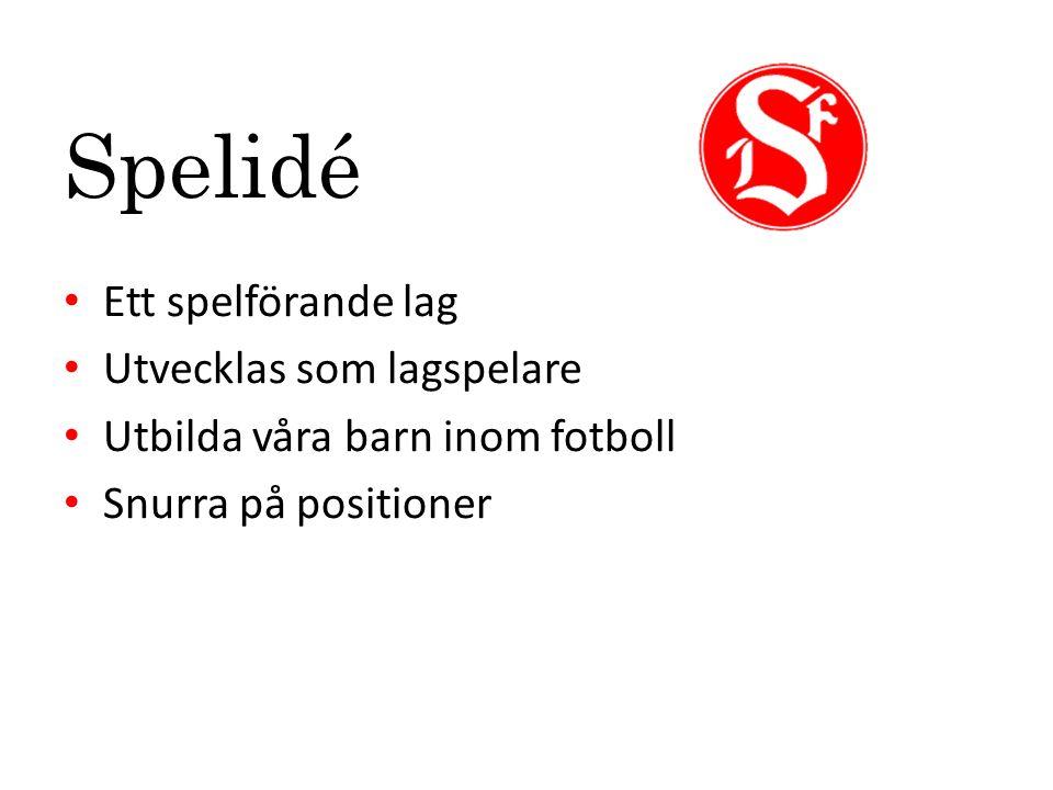 Spelidé Ett spelförande lag Utvecklas som lagspelare Utbilda våra barn inom fotboll Snurra på positioner