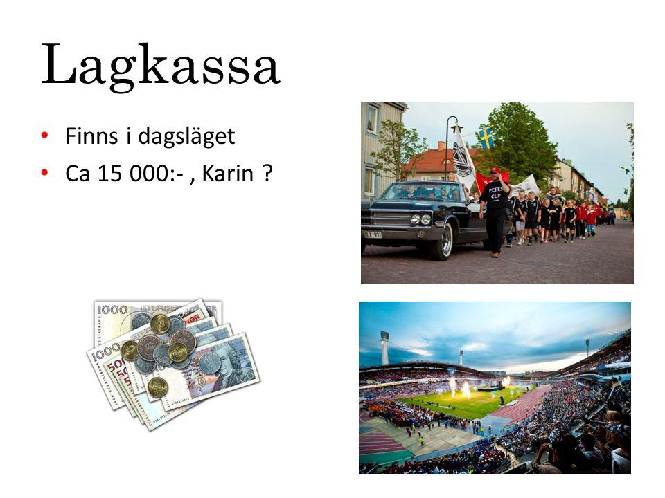Lagkassa Finns i dagsläget Ca 15 000:-, Karin ?
