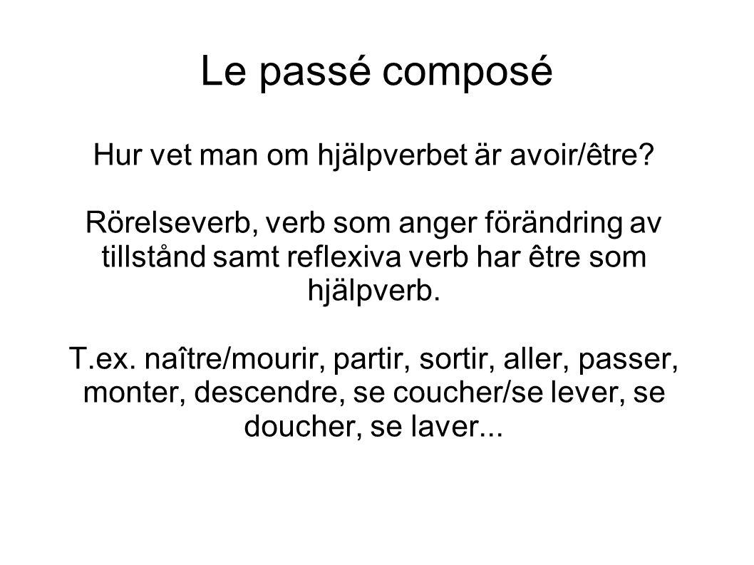 Le passé composé Hur vet man om hjälpverbet är avoir/être.