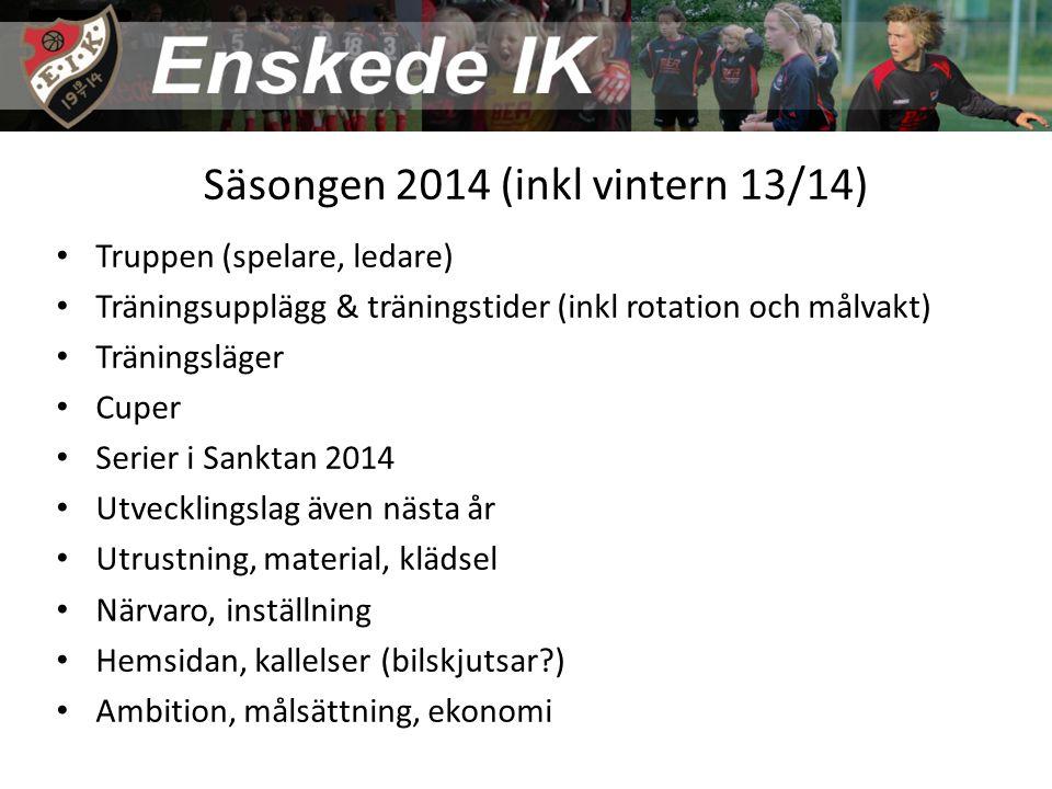 Säsongen 2014 (inkl vintern 13/14) Truppen (spelare, ledare) Träningsupplägg & träningstider (inkl rotation och målvakt) Träningsläger Cuper Serier i