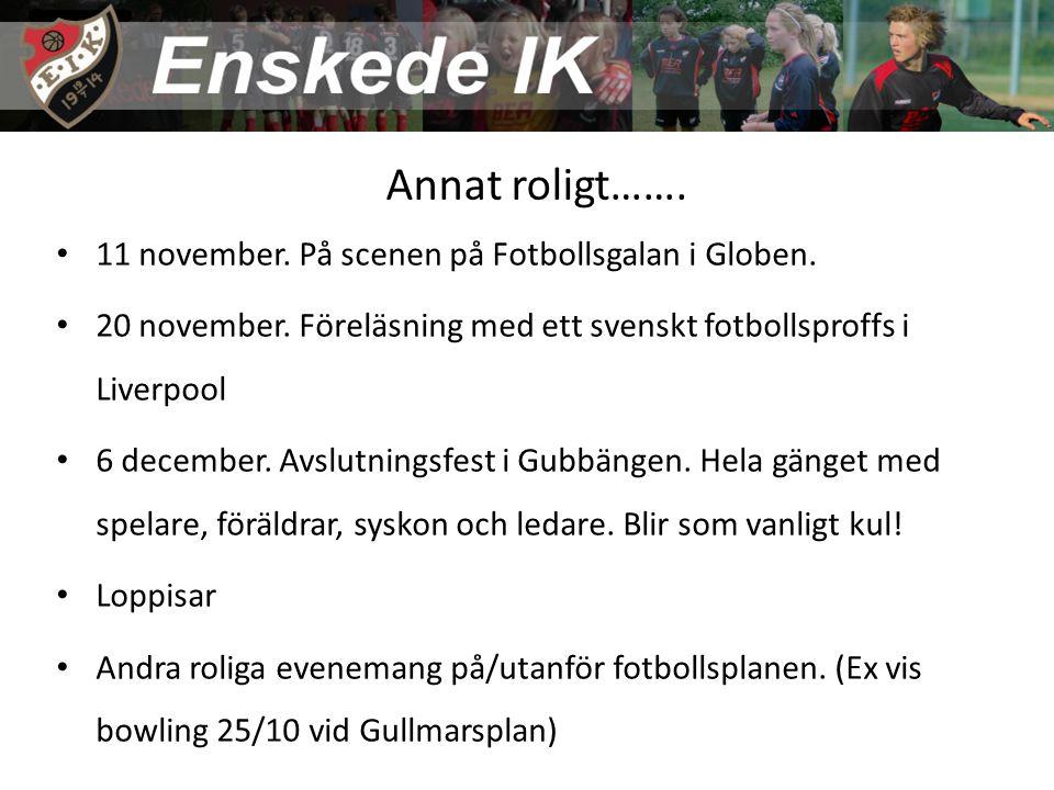 Annat roligt……. 11 november. På scenen på Fotbollsgalan i Globen. 20 november. Föreläsning med ett svenskt fotbollsproffs i Liverpool 6 december. Avsl