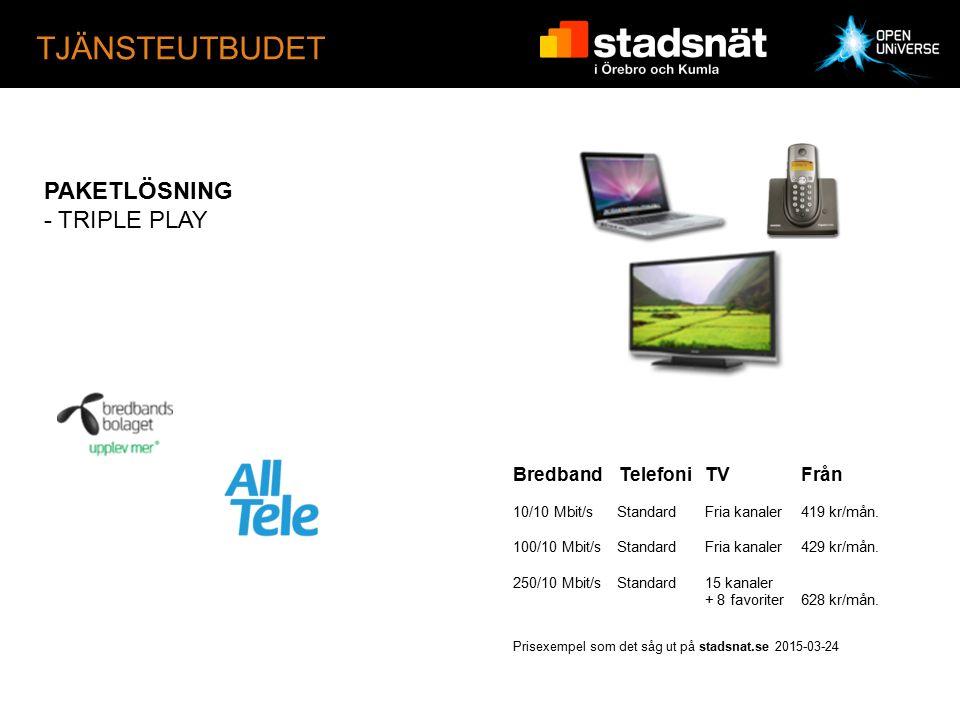 TJÄNSTEUTBUDET PAKETLÖSNING - TRIPLE PLAY Bredband TelefoniTVFrån 10/10 Mbit/s StandardFria kanaler 419 kr/mån.