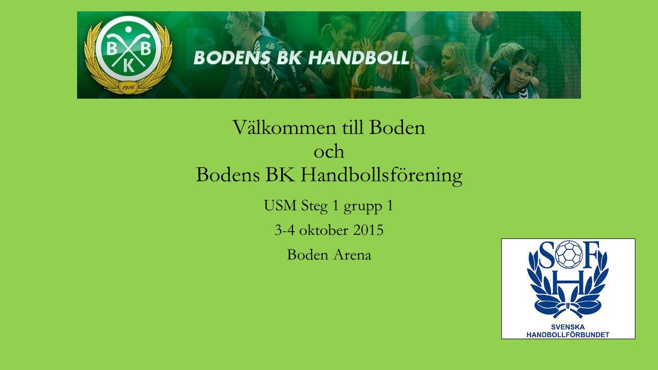 Välkommen till Boden och Bodens BK Handbollsförening USM Steg 1 grupp 1 3-4 oktober 2015 Boden Arena