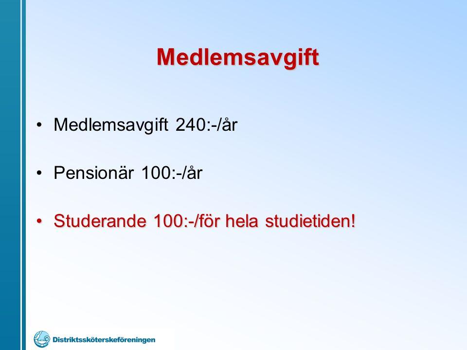Medlemsavgift 240:-/år Pensionär 100:-/år Studerande 100:-/för hela studietiden!Studerande 100:-/för hela studietiden.