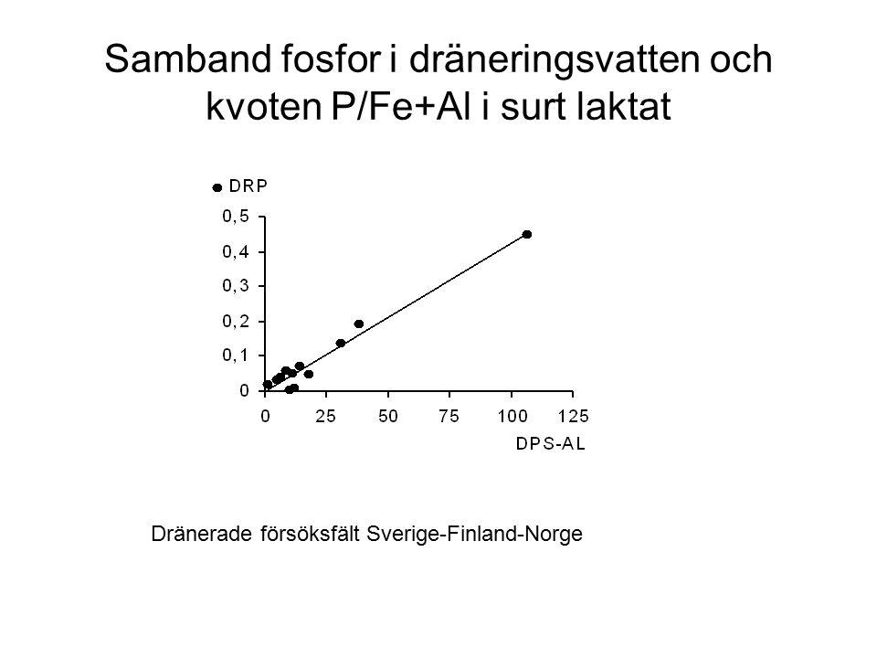 Samband fosfor i dräneringsvatten och kvoten P/Fe+Al i surt laktat Dränerade försöksfält Sverige-Finland-Norge