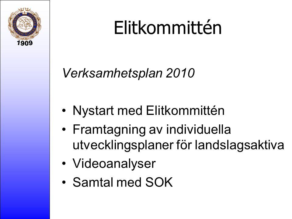 Elitkommittén Verksamhetsplan 2010 Nystart med Elitkommittén Framtagning av individuella utvecklingsplaner för landslagsaktiva Videoanalyser Samtal me