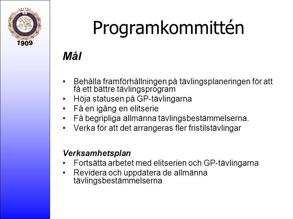 Programkommittén Mål Behålla framförhållningen på tävlingsplaneringen för att få ett bättre tävlingsprogram Höja statusen på GP-tävlingarna Få en igån