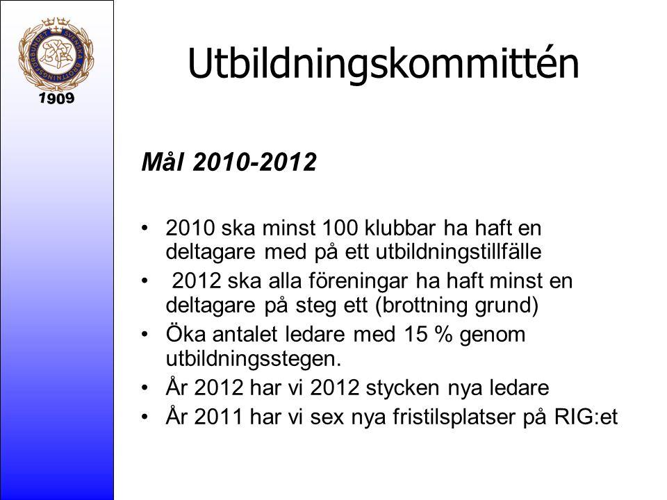Utbildningskommittén Mål 2010-2012 2010 ska minst 100 klubbar ha haft en deltagare med på ett utbildningstillfälle 2012 ska alla föreningar ha haft mi