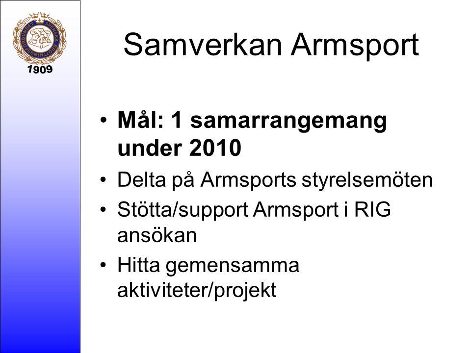Samverkan Armsport Mål: 1 samarrangemang under 2010 Delta på Armsports styrelsemöten Stötta/support Armsport i RIG ansökan Hitta gemensamma aktivitete