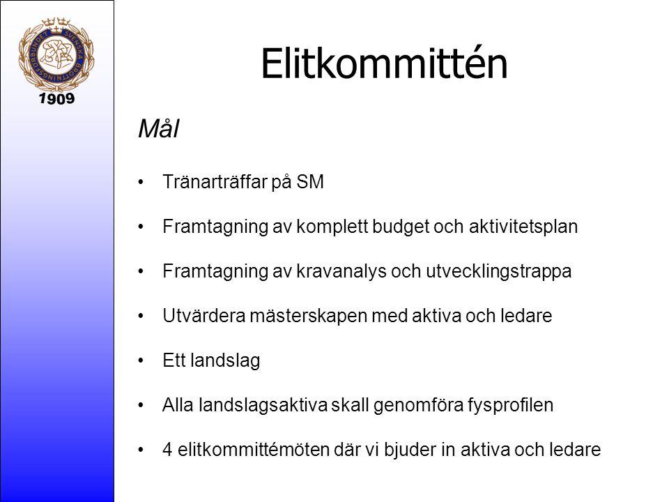 Elitkommittén Mål Tränarträffar på SM Framtagning av komplett budget och aktivitetsplan Framtagning av kravanalys och utvecklingstrappa Utvärdera mäst