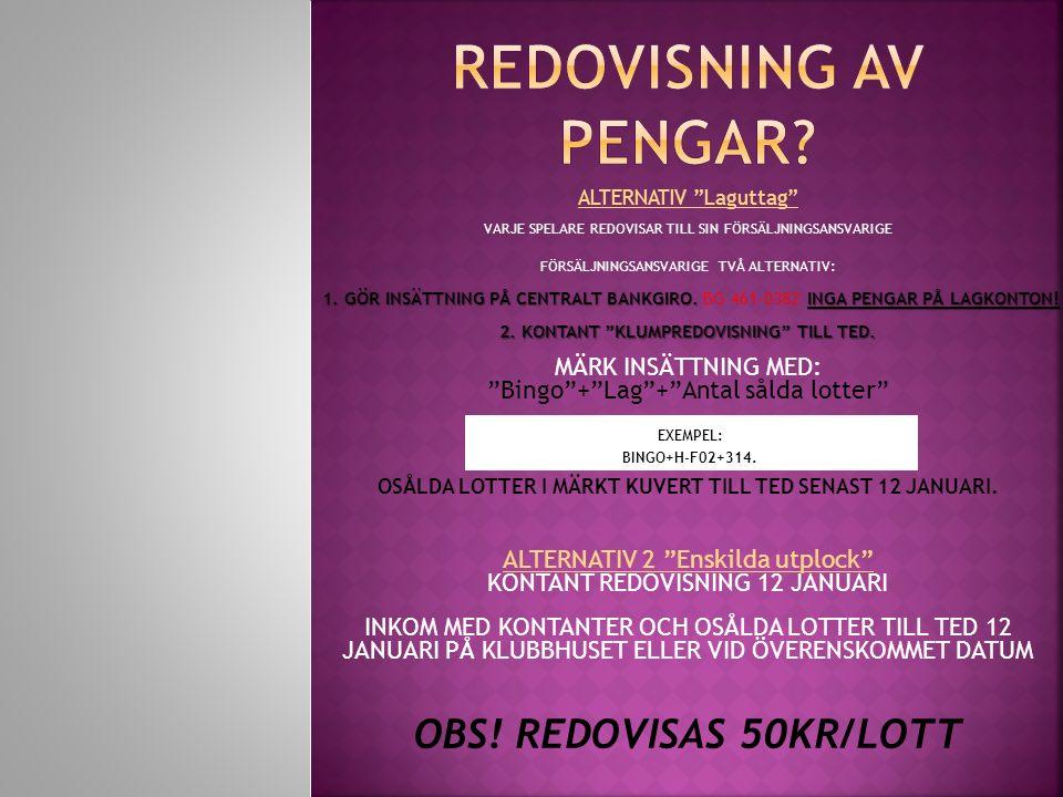 ALTERNATIV Laguttag VARJE SPELARE REDOVISAR TILL SIN FÖRSÄLJNINGSANSVARIGE FÖRSÄLJNINGSANSVARIGE TVÅ ALTERNATIV: MÄRK INSÄTTNING MED: Bingo + Lag + Antal sålda lotter EXEMPEL: BINGO+H-F02+314.
