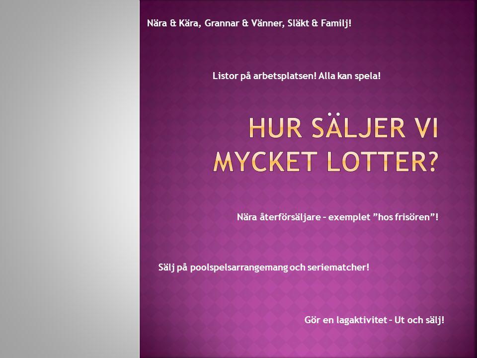 Nära & Kära, Grannar & Vänner, Släkt & Familj. Gör en lagaktivitet – Ut och sälj.