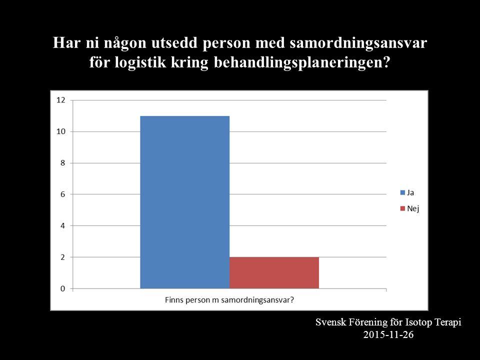 Svensk Förening för Isotop Terapi 2015-11-26 Har ni någon utsedd person med samordningsansvar för logistik kring behandlingsplaneringen?